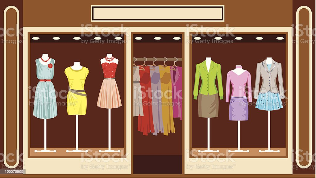 Boutique. Women's clothing shop royalty-free stock vector art