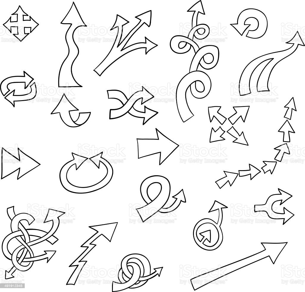 Bow and arrows in black & white royalty-free stock vector art