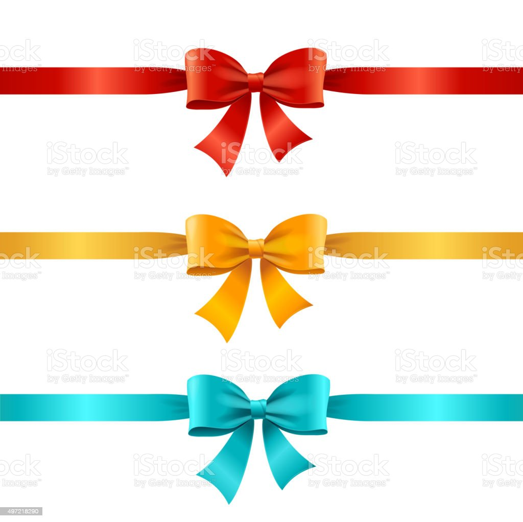 Bow and Ribbon Set. Vector vector art illustration
