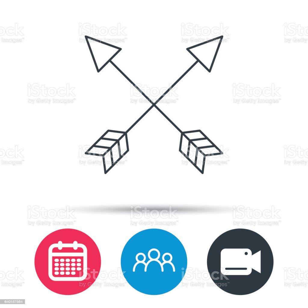 Bow arrows icon. Hunting sport equipment sign. vector art illustration