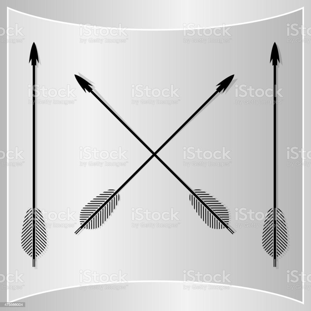 Bow Arrows Silhouette vector art illustration