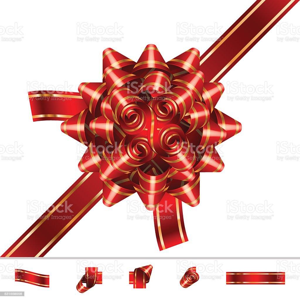 Bow Knot Ribbon Solemnity Set vector art illustration