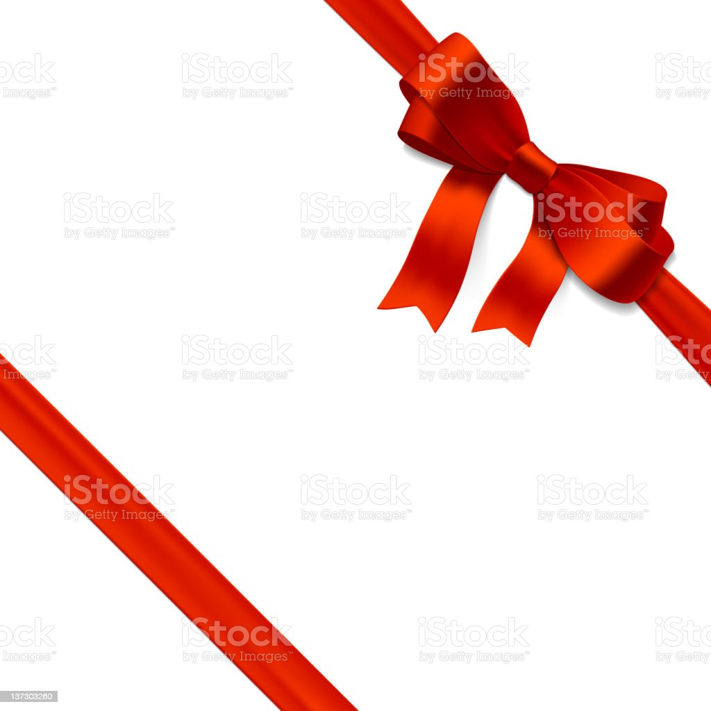 Bow made of red ribbon isolated on white background vector art illustration