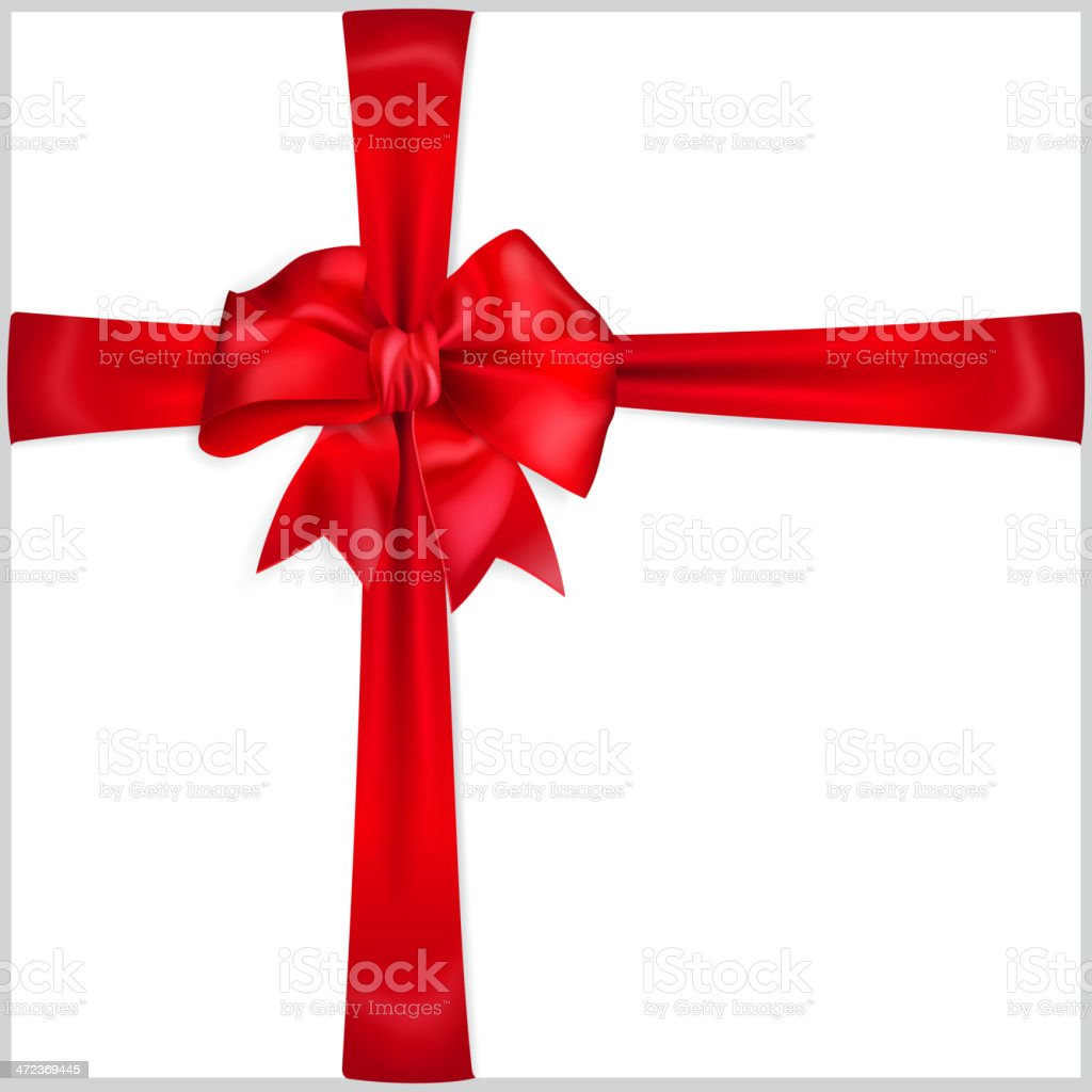 Bow of red ribbon royalty-free stock vector art