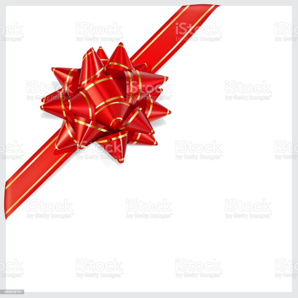 Bow of red ribbon with gold stripes. Located diagonally vector art illustration
