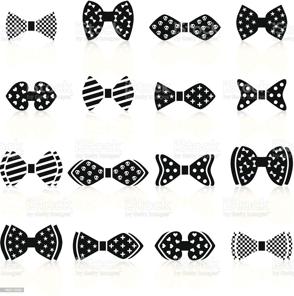 Bow tie with patterns vector art illustration