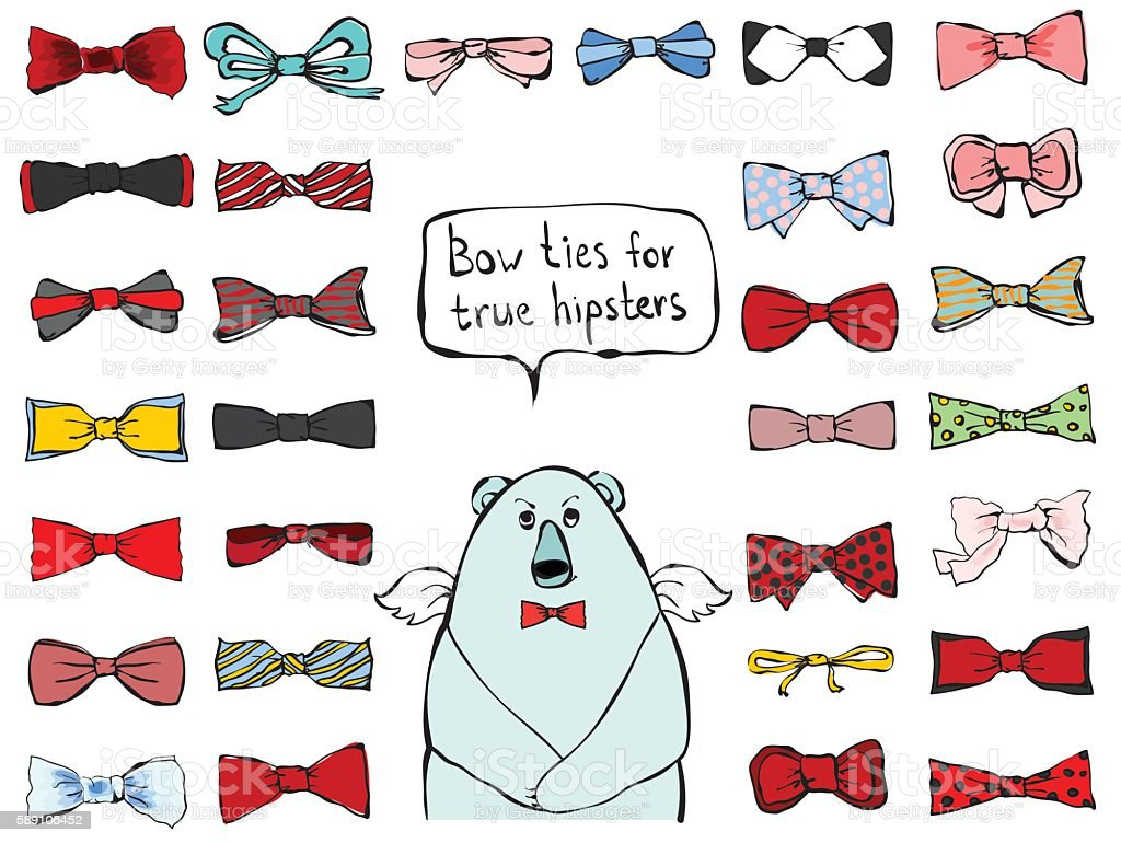 Bow ties for true hipsters vector art illustration