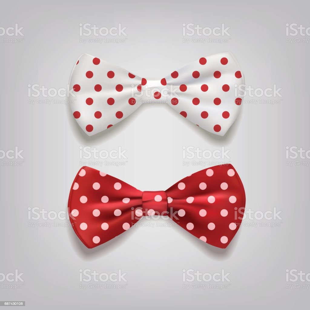 Bow ties polka dots isolated on gray background. Vector illustration. vector art illustration
