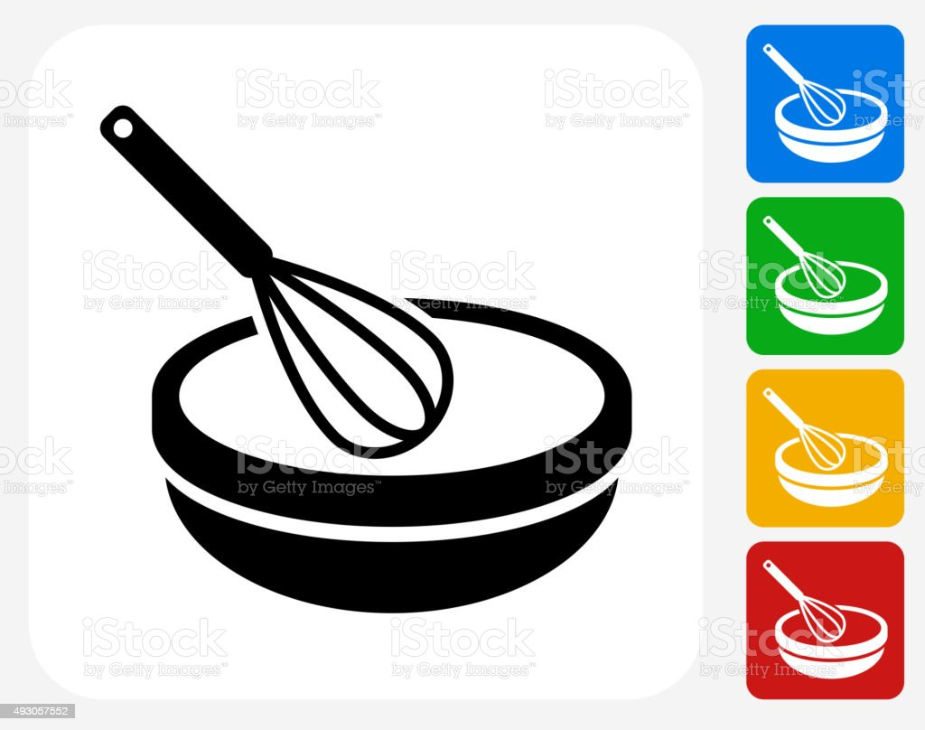 Bowl and Whisker Icon Flat Graphic Design vector art illustration
