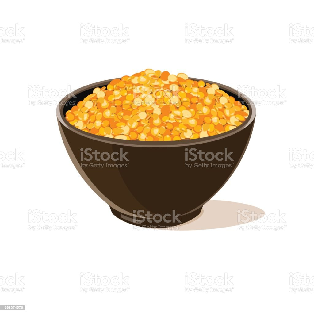 bowl full of yellow lentils vector art illustration