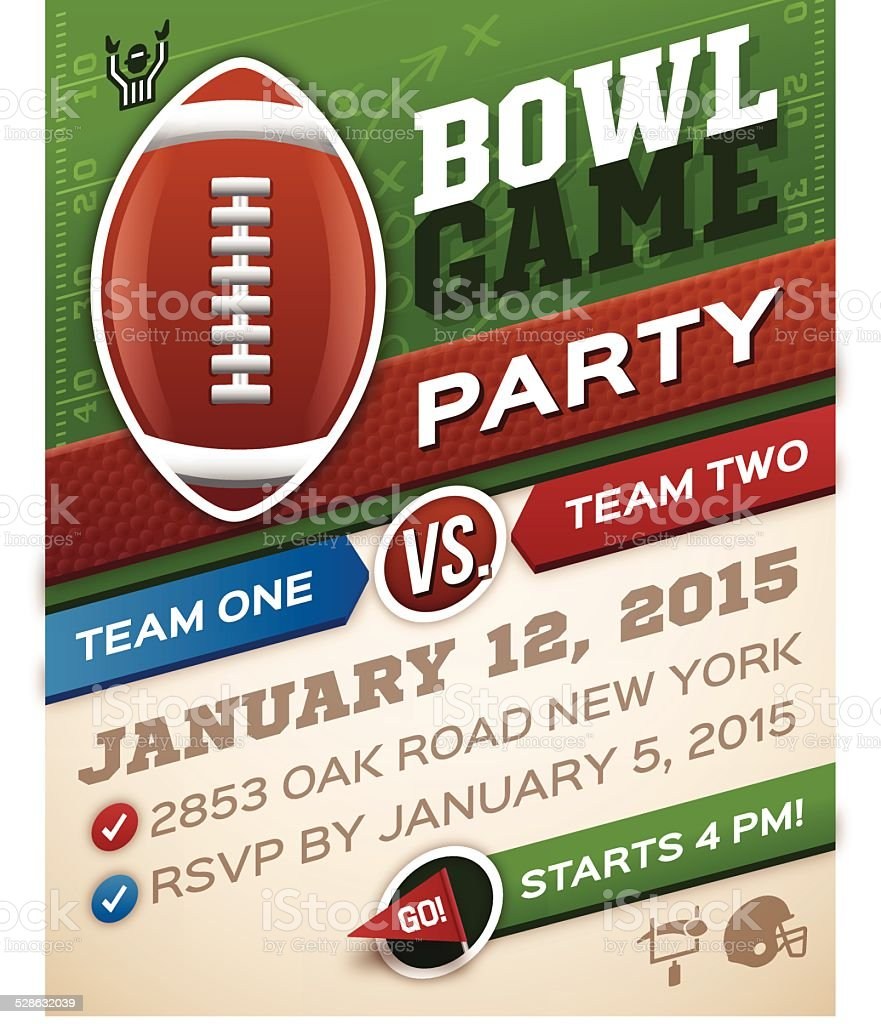 Bowl Game Football Invitation vector art illustration