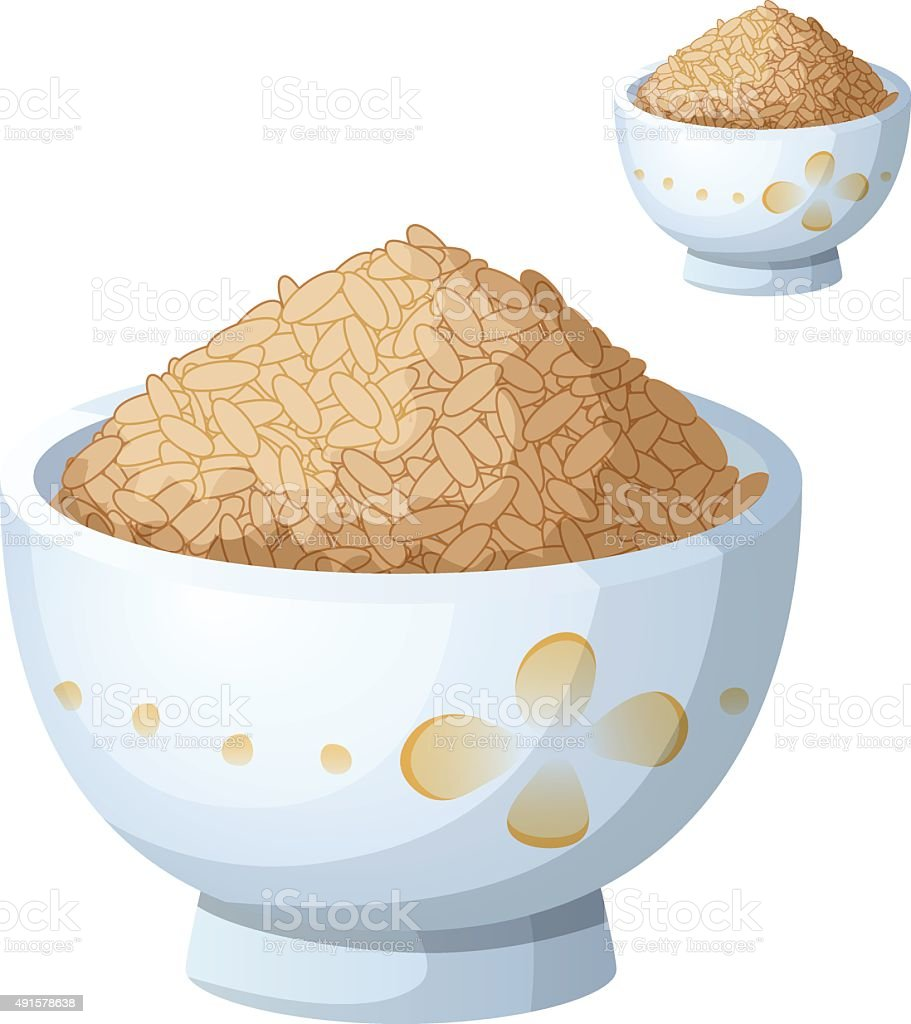 Bowl of brown rice isolated on white background. Detailed Vector vector art illustration