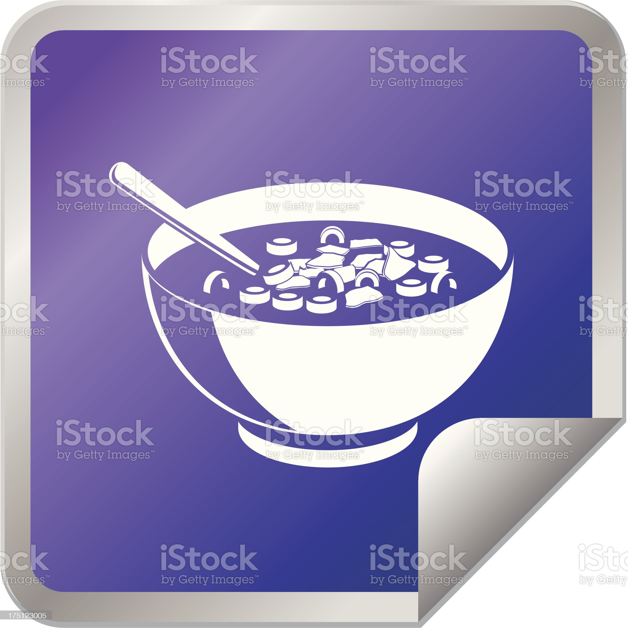 Bowl of Cereal sticker design royalty-free stock vector art