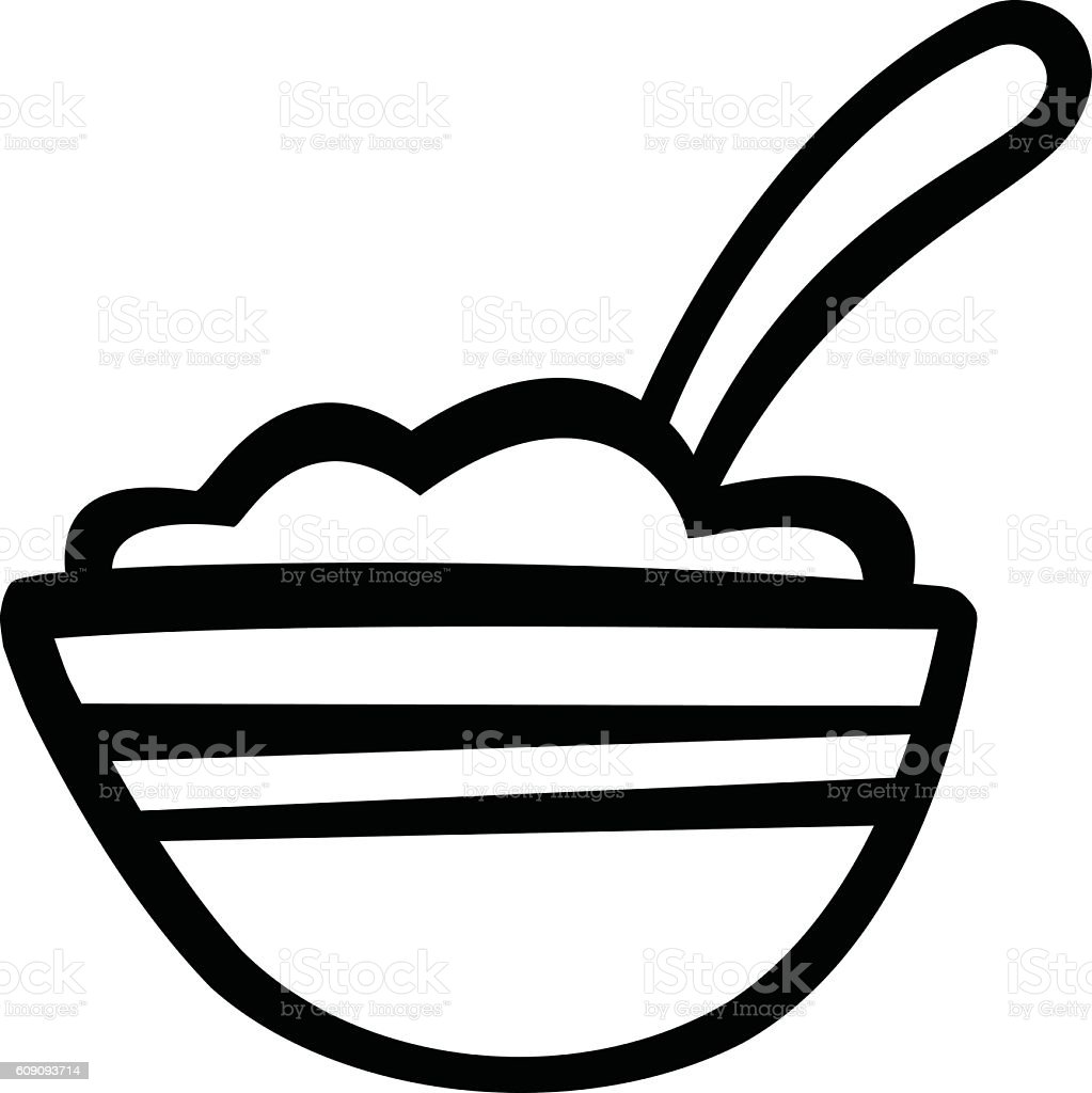Bowl of Cereal vector icon vector art illustration