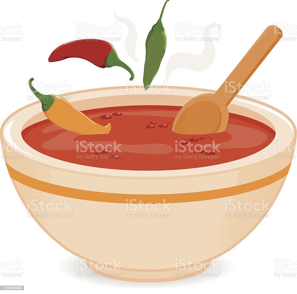 Bowl of hot chili soup vector art illustration