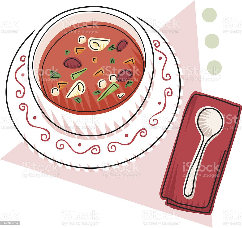 Bowl of Minestrone and a spoon royalty-free stock vector art