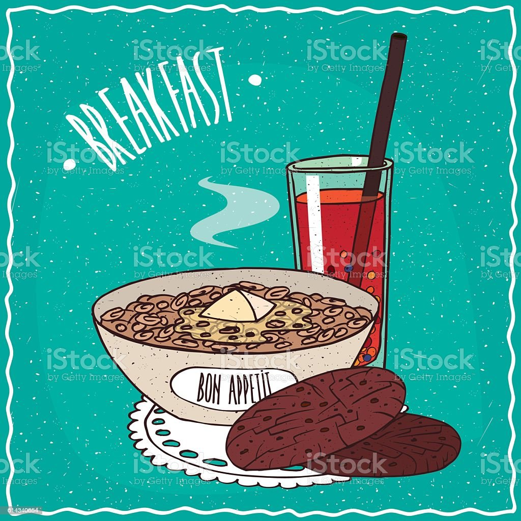 Bowl of muesli with oatmeal cookies and juice vector art illustration