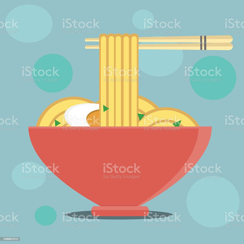 Bowl of Noodles with a Pair of Chopsticks vector art illustration