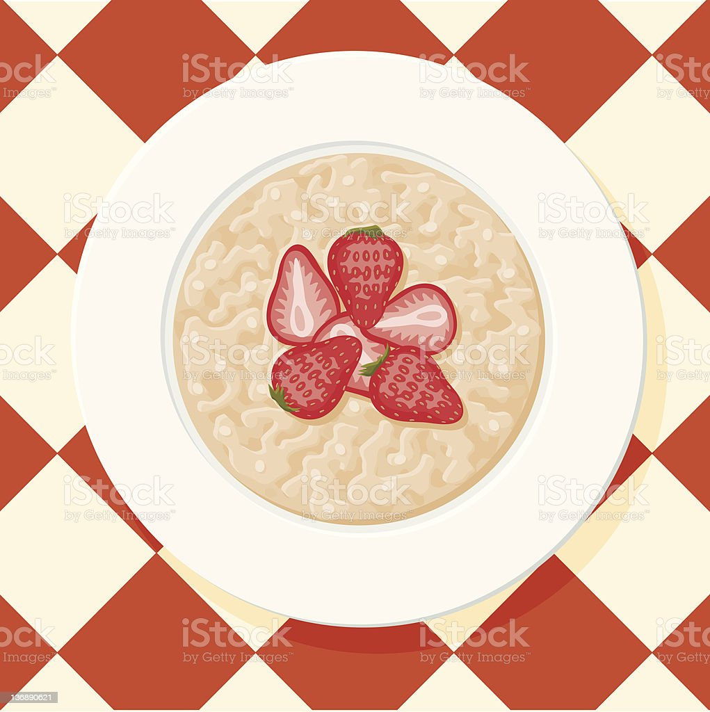 Bowl of Oatmeal Topped with Strawberries royalty-free stock vector art