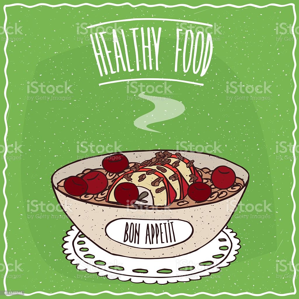 Bowl of oatmeal with apple and cherry vector art illustration
