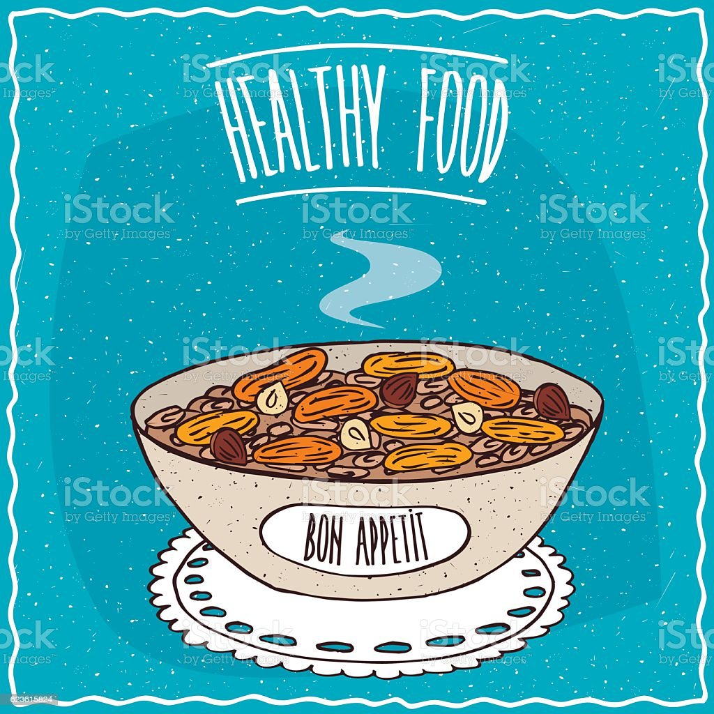 Bowl of oatmeal with dried apricots and hazelnuts vector art illustration
