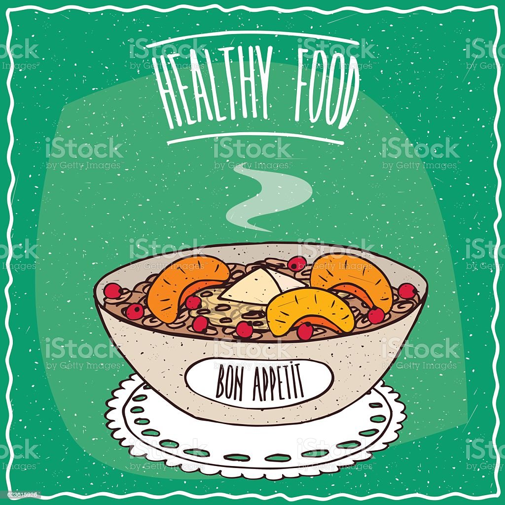 Bowl of oatmeal with peach and red currant vector art illustration