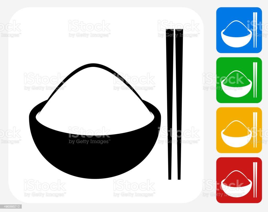 Bowl of Rice Icon Flat Graphic Design vector art illustration