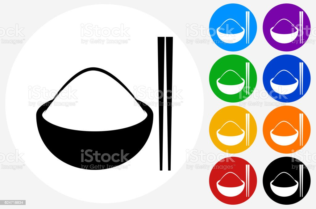 Bowl of Rice Icon on Flat Color Circle Buttons vector art illustration