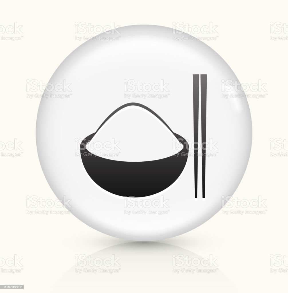 Bowl of Rice icon on white round vector button vector art illustration