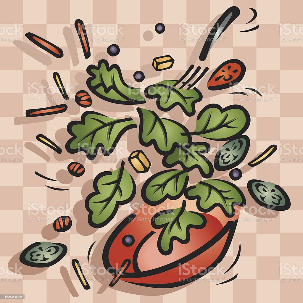 Bowl of Salad in Mid Air Vector vector art illustration