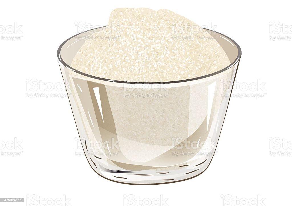 bowl of sugar vector art illustration