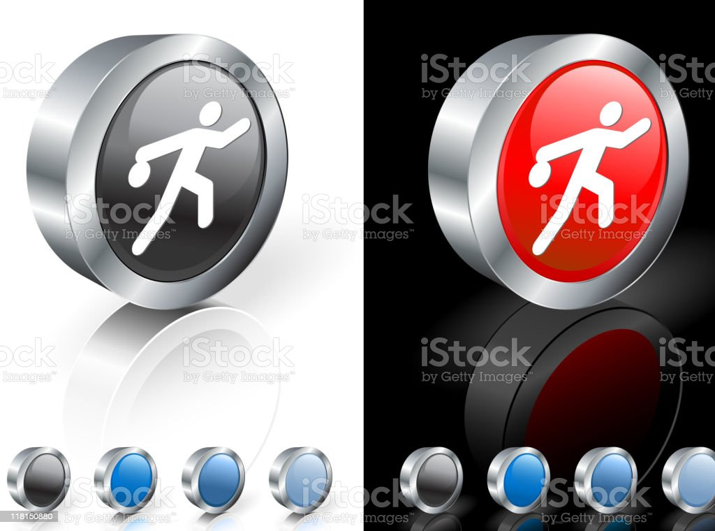 bowler 3D icon vector art illustration
