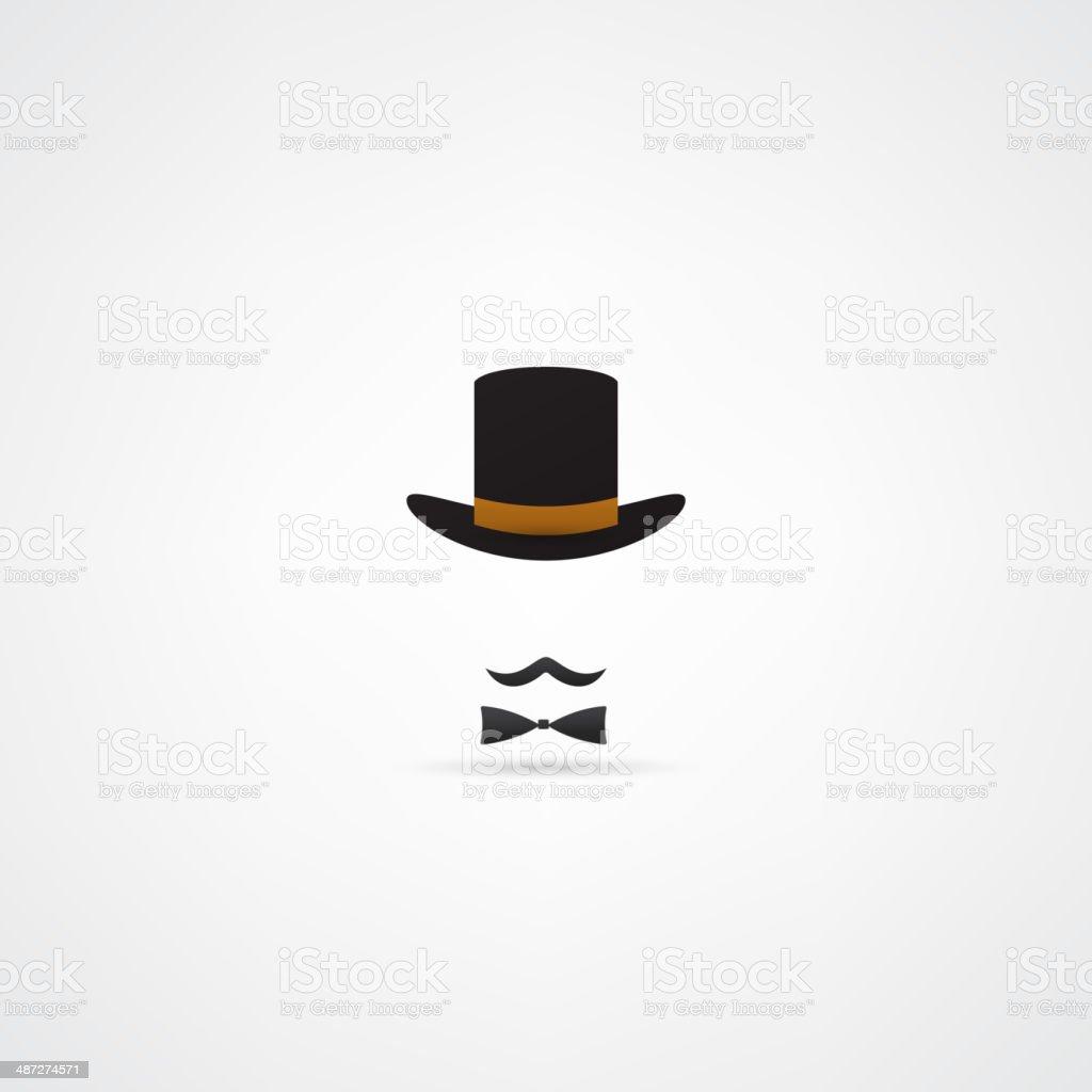 Bowler hat and moustache vector art illustration