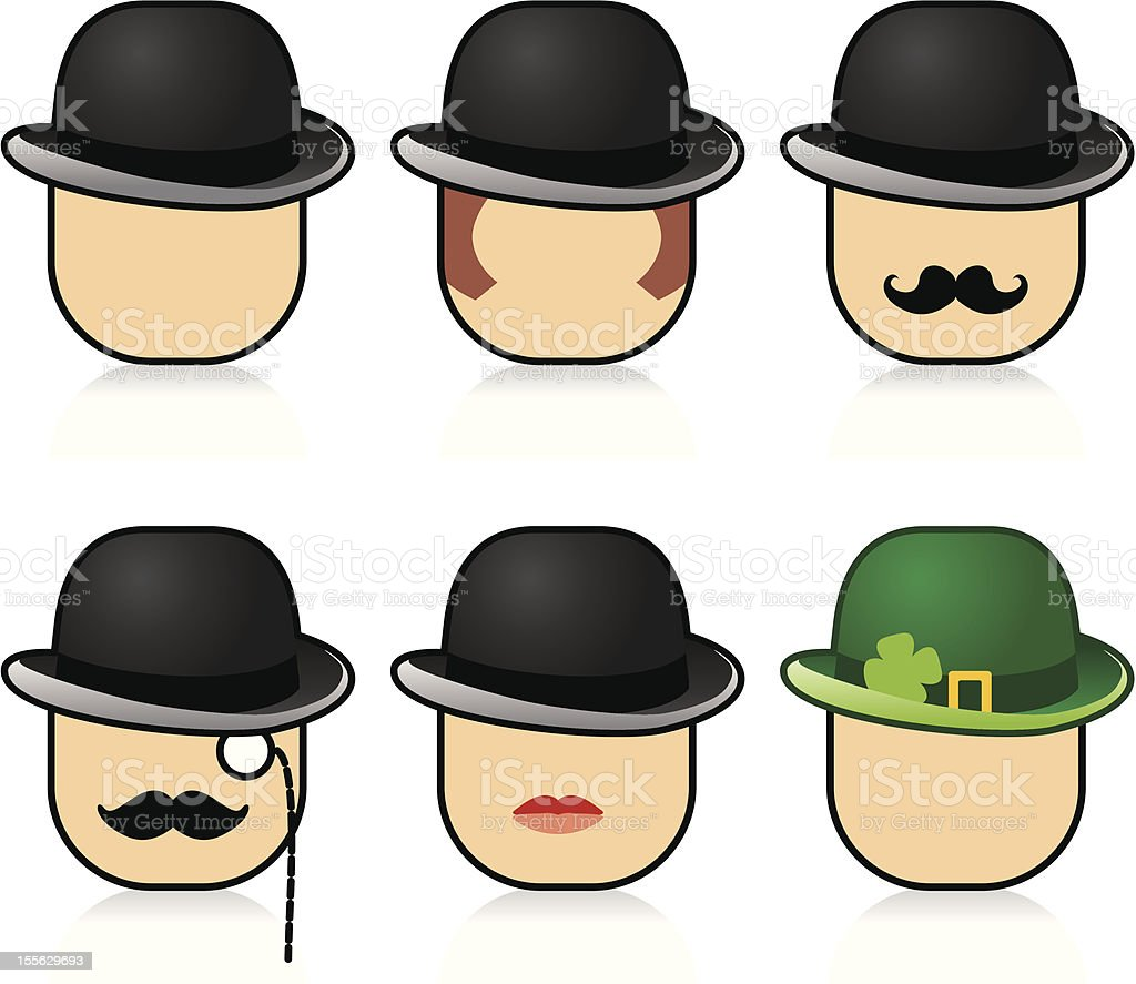 Bowler hats and faces vector art illustration