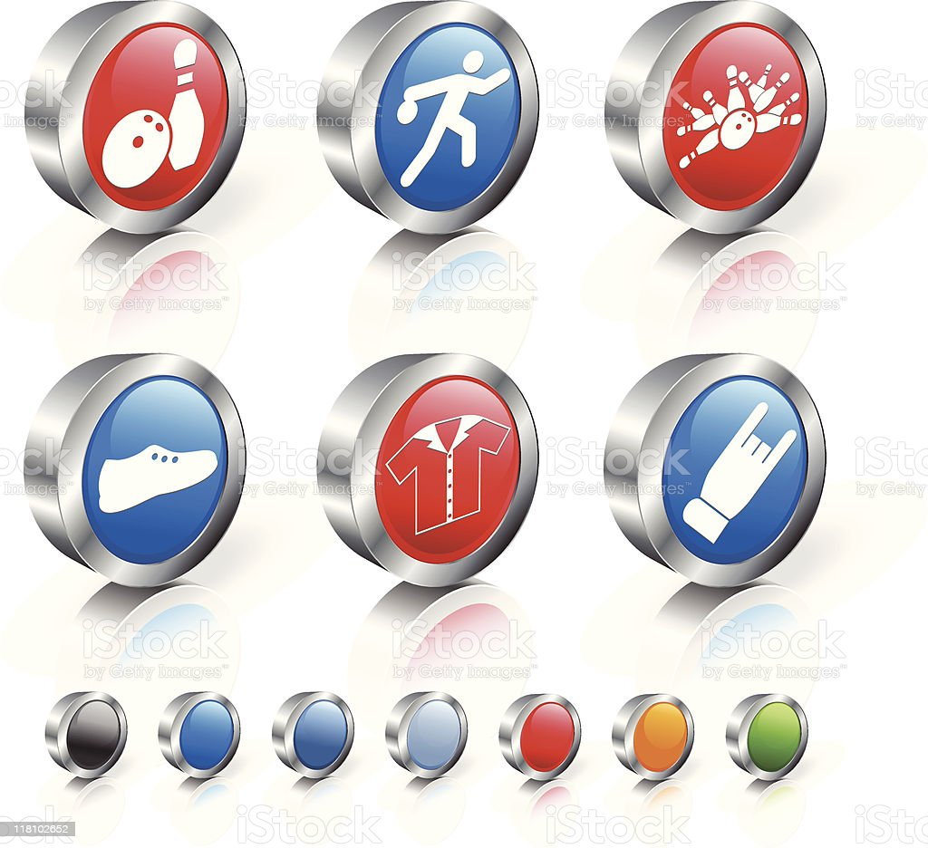 bowling 3D icon set vector art illustration