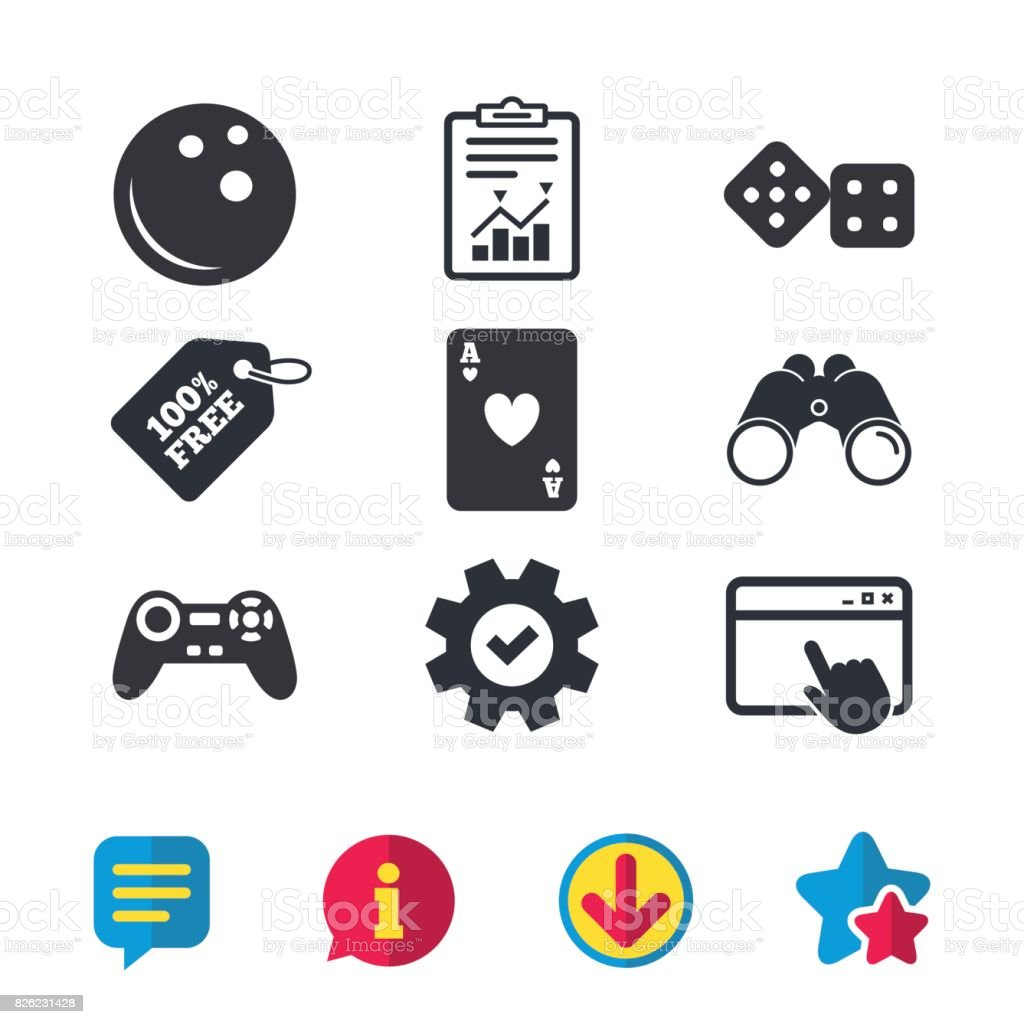 Bowling and Casino signs. Video game joystick. vector art illustration