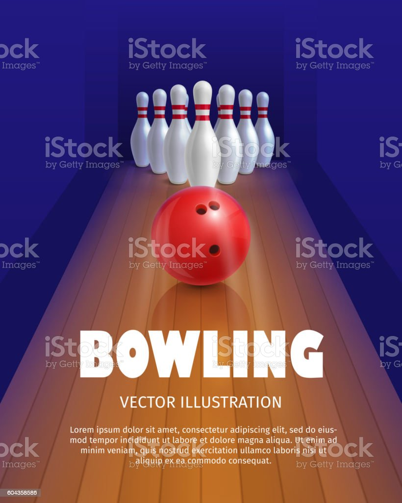 Bowling ball and skittles. vector art illustration