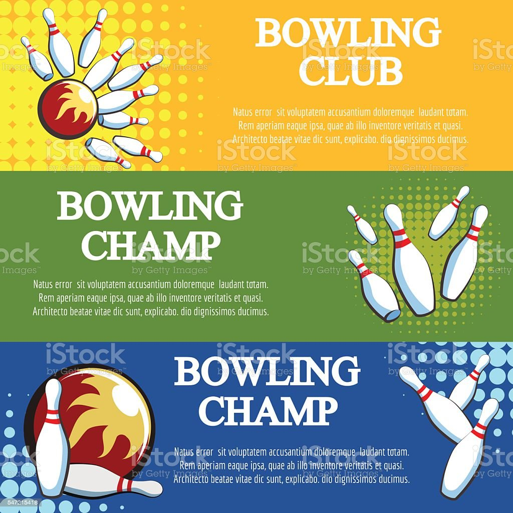 Bowling banners set vector art illustration