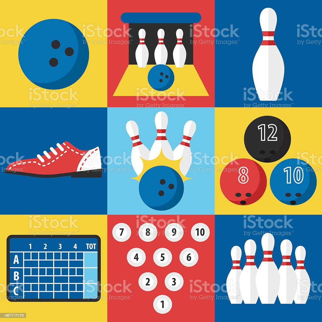 Bowling icons vector art illustration