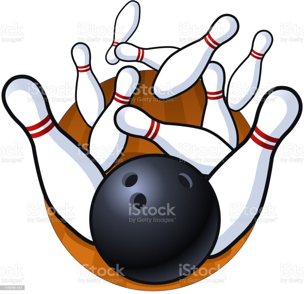 Bowling Perfect Strike vector art illustration