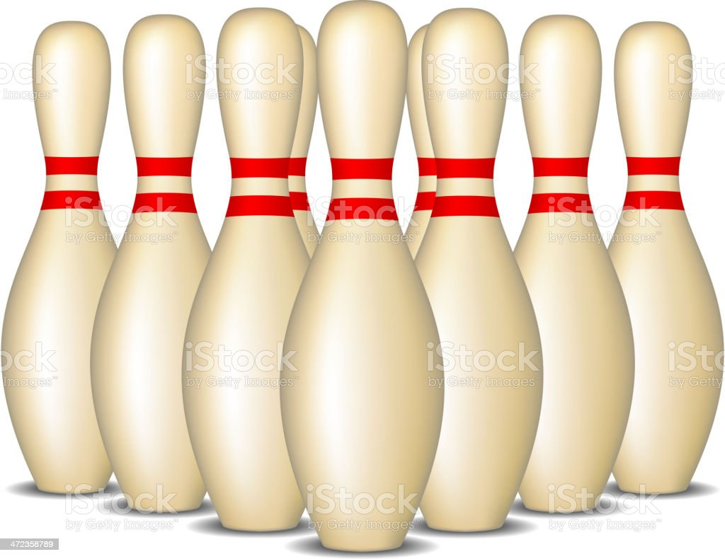 Bowling pins with red stripes standing in formation royalty-free stock vector art
