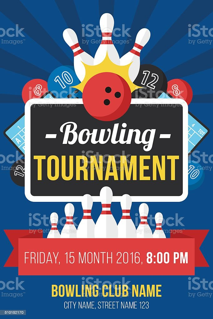 Bowling poster vector art illustration