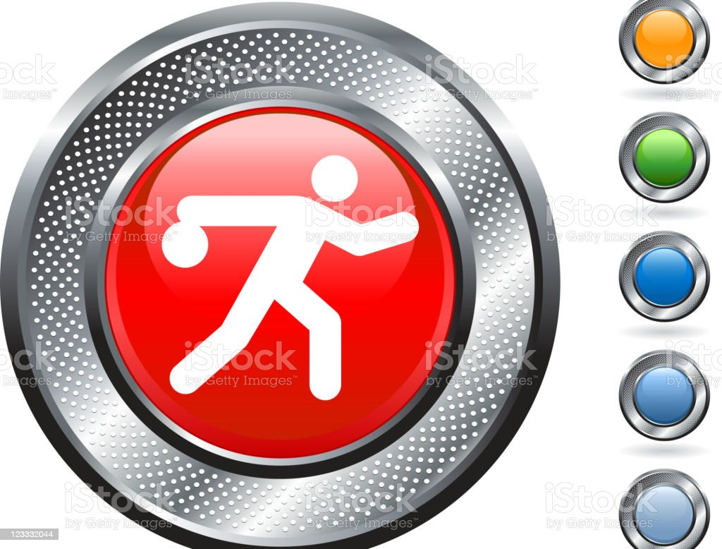 bowling icon on button with metallic border vector art illustration