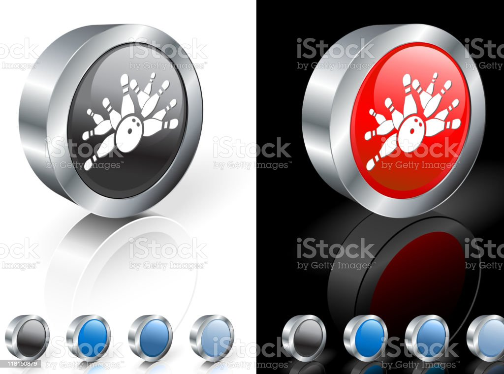 bowling strike 3D icon vector art illustration