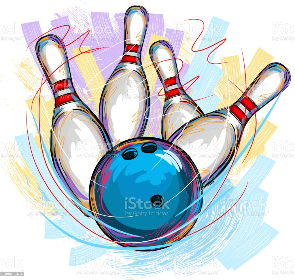 Bowling vector art illustration