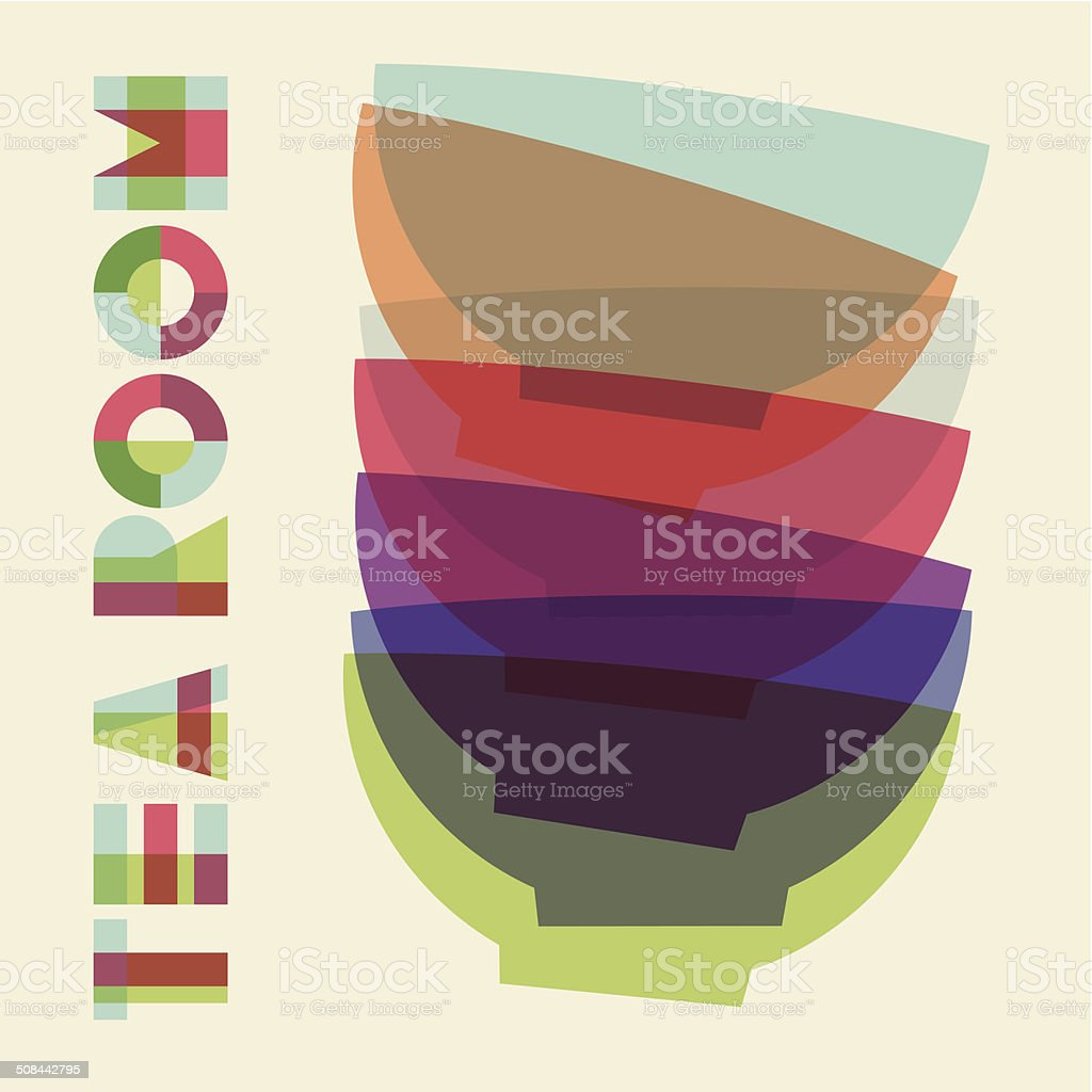 Bowls pile composition vector art illustration