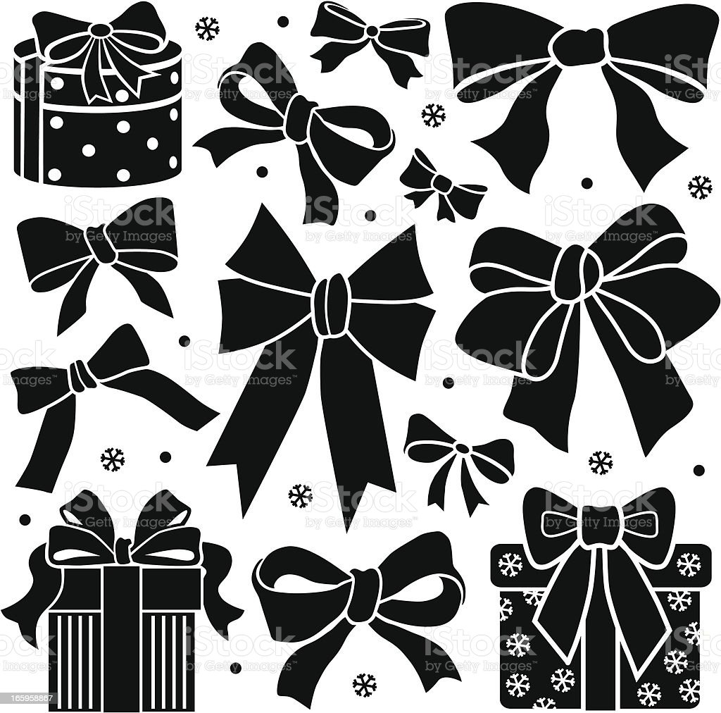 bows and presents design elements vector art illustration