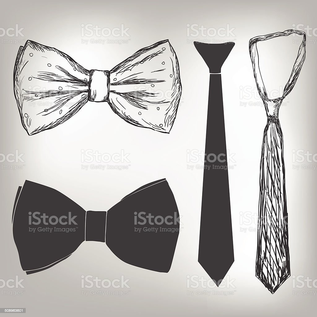 Bowtie and neck tie vector art illustration