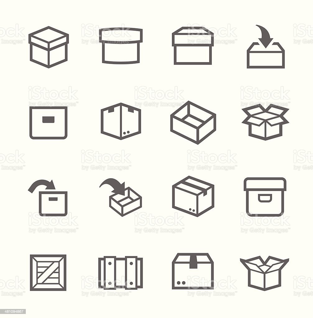 Box and crates icons vector art illustration