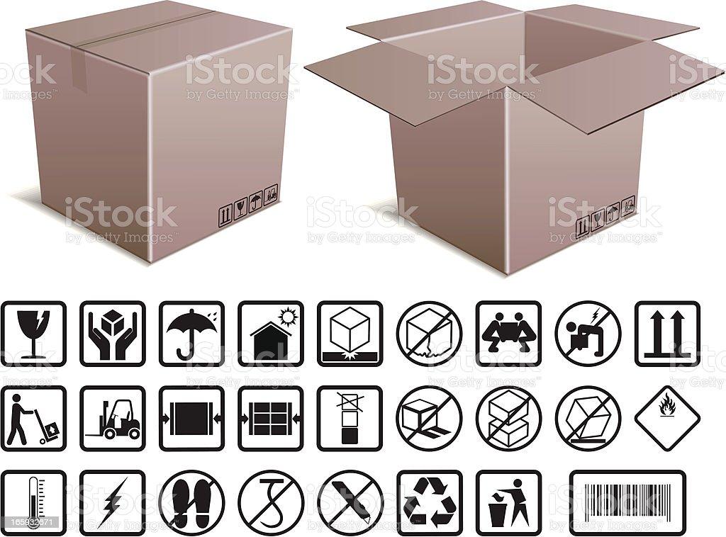 Box and Handling Instructions vector art illustration